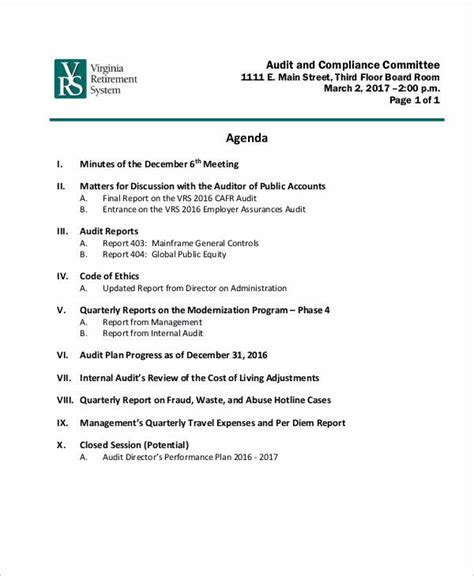 sample audit agenda  sample  format