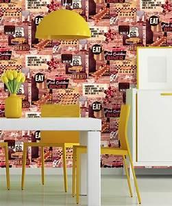 American Diner Wallpaper : american diner wallpaper usa brick effect rustic slate cars route 66 retro 9050192889601 ebay ~ Orissabook.com Haus und Dekorationen