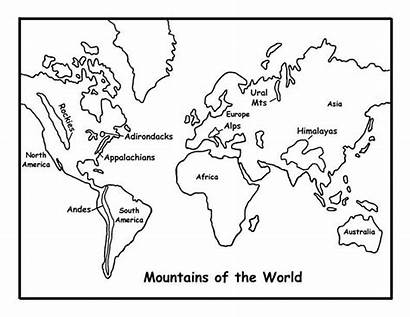 Map Coloring Mountains Pages Printable Mountain Andes