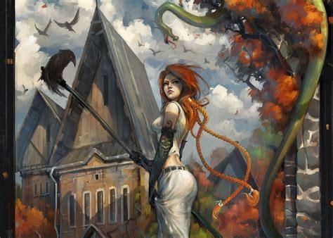 redhead, Snake, Artwork, Fantasy Art, Women, Crow ...