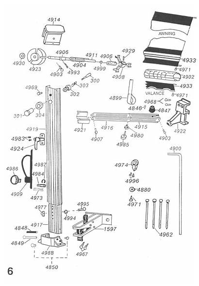 Parts Roll Awning Diagram Left Side Shademaker