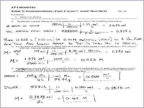 Chemistry Stoichiometry Worksheet Answers Breadandhearth