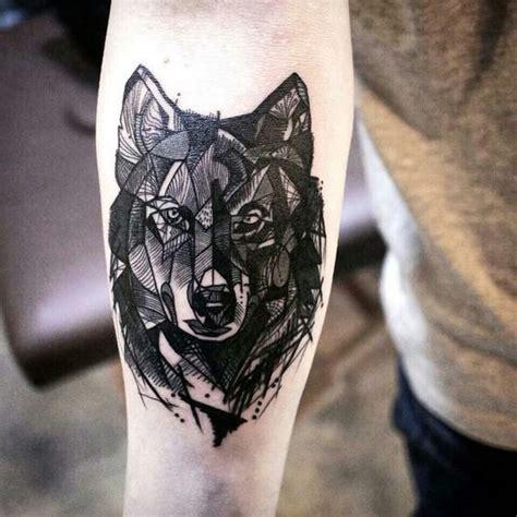 blackwork style medium size forearm tattoo  wolf head
