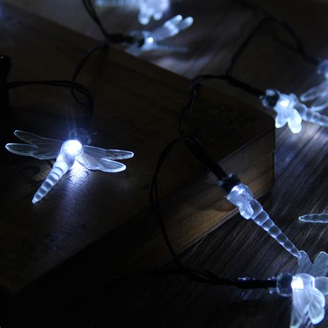 30 led white solar dragonfly power string lights