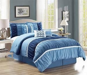 7, Piece, Ruched, Navy, Blue, Comforter, Set