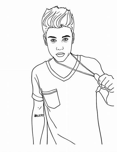 Bieber Justin Coloring Pages Printable Famous Celebrities