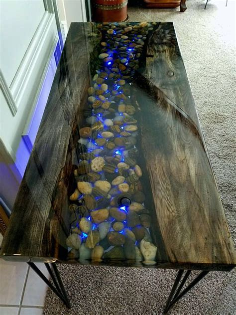 river  resin hand  epoxy encased table including