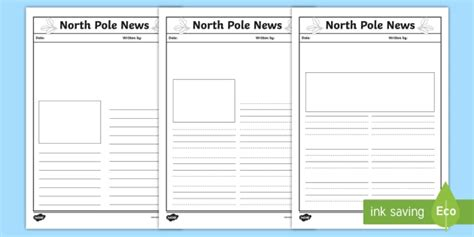 North Pole News Writing Template  Ks1, Eyfs, Letters