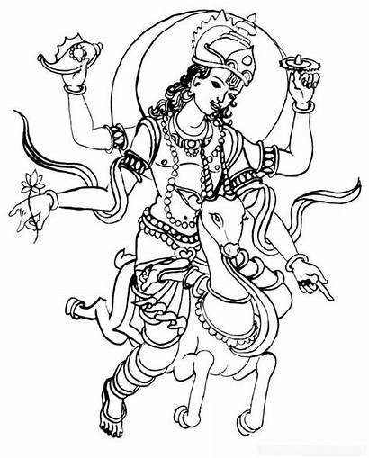 Coloring Hindu Gods Goddesses Colouring Line Drawings