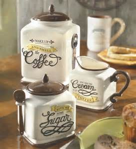 new coffee themed canister sugar bowl creamer kitchen decor gift set ebay - Coffee Themed Kitchen Canisters