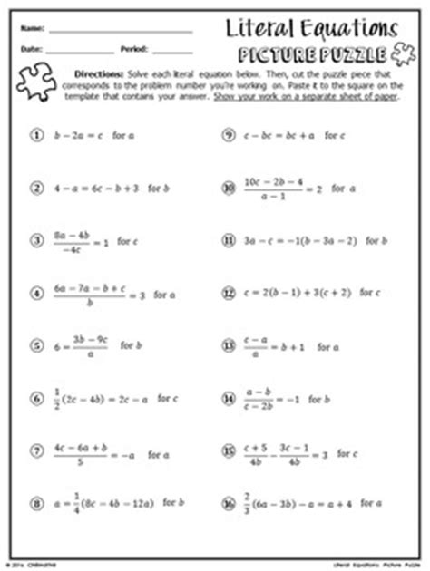 literal equations picture puzzle by chilimath algebra