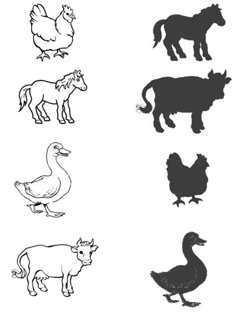 animal shadow matching worksheet 2 crafts and