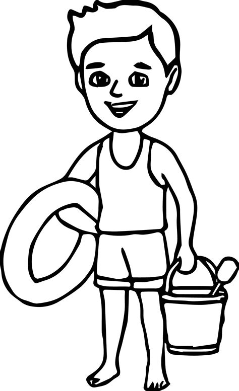 boy   beach coloring page beach coloring pages
