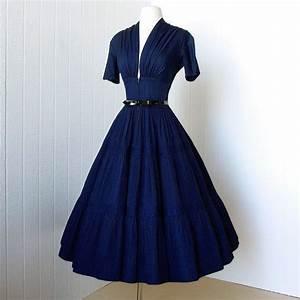 Vintage 1940's dress ...vavavoom forties navy cotton full ...