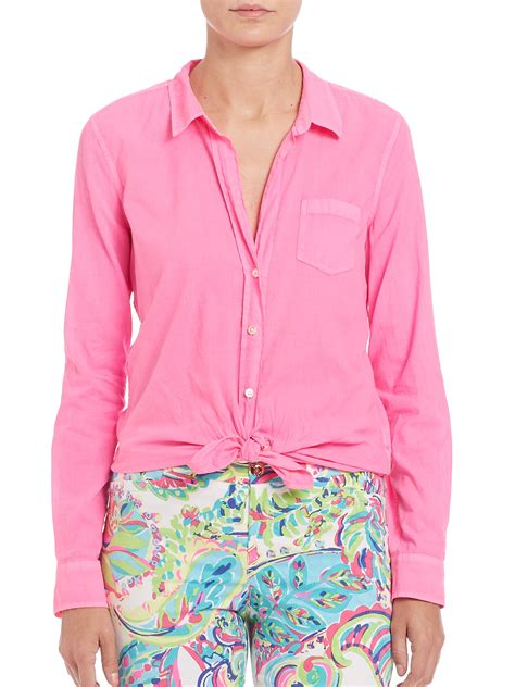 lilly pulitzer blouse lilly pulitzer button front blouse in pink lyst