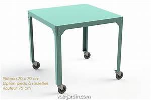 Table De Jardin Grise : table de jardin carre en acier galvanis hegoa 79x79cm de ~ Teatrodelosmanantiales.com Idées de Décoration