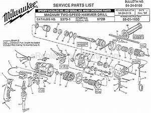 Milwaukee 5370-1 Parts List And Diagram