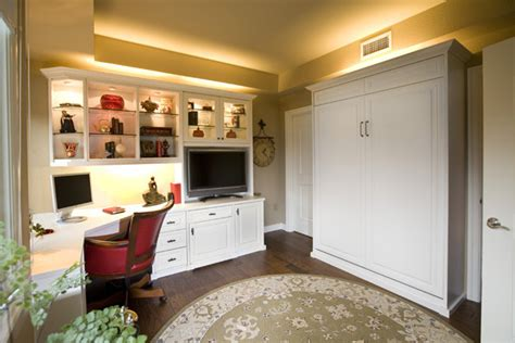 Wall Bed By Valet Custom Cabinets Closets by Siena Collection White Home Office With Wall Bed By Valet