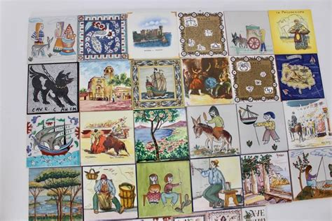 multicolored collection of ceramic tiles europe 1960s for