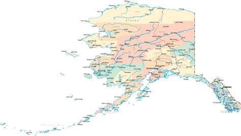 large detailed road  administrative map  alaska