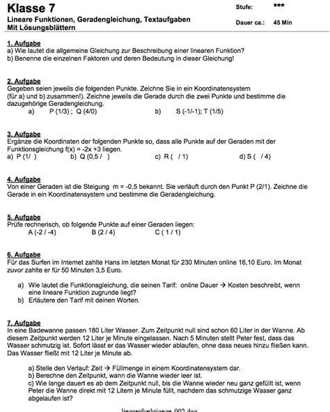 arbeitsblatt lineare funktionen mit textaufgaben