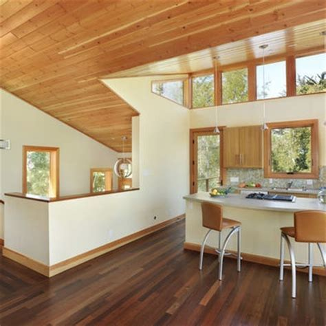 example of knotty pine ceiling, adjacent drywall and