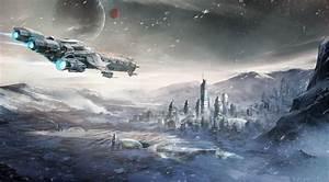 Star Citizen Caterpillar Snow Spaceship Digital Art