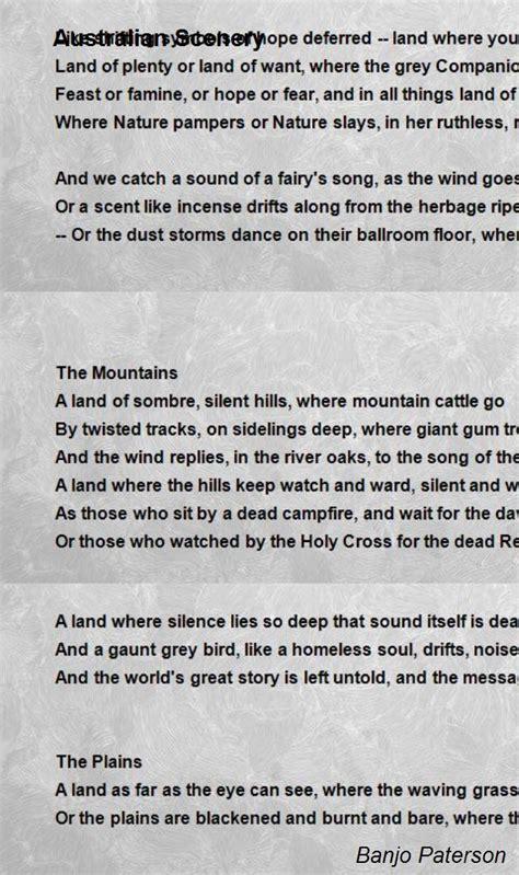 australian scenery poem  banjo paterson poem hunter