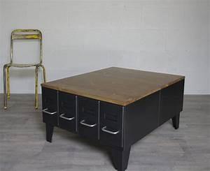 Table Basse Style Industriel Avec Tiroirs Hauts Restaurs