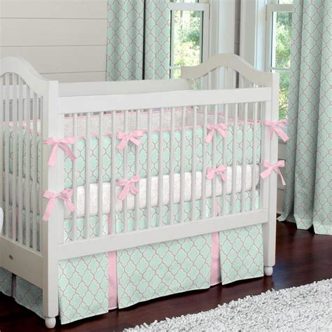 Mint And Pink Quatrefoil Crib Bedding  Carousel Designs