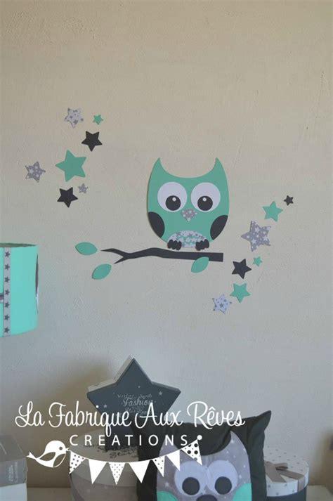 stickers hibou chambre bébé stickers hibou étoiles vert eau gris décoration chambre