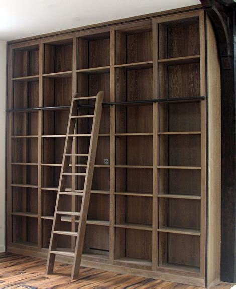 bookcase with ladder and rail ladder rail looks like a better way in terms of cost