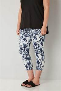 White  U0026 Navy Blue Floral Print Cropped Jenny Jeggings
