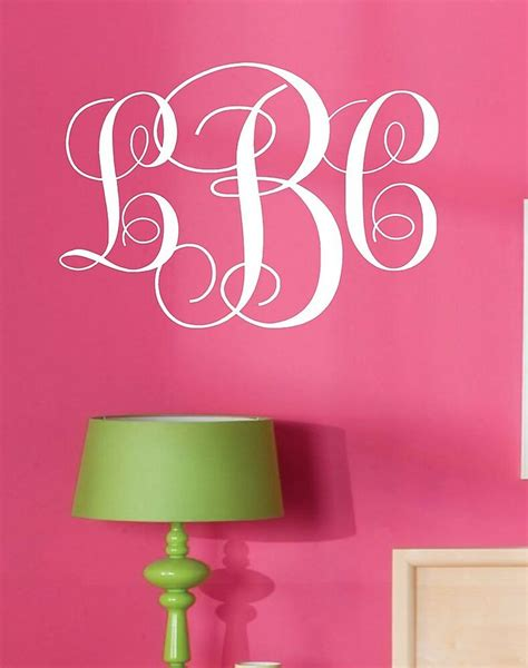 monogram initials vinyl wall decal lettering words personalized graphics preppy ebay