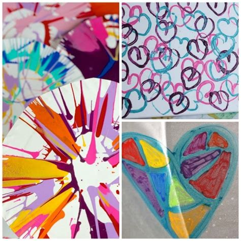 25 awesome projects for toddlers and preschoolers 707 | spin art toilet roll heart art melted crayon art