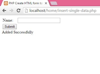 php create html form to insert data into mysql database