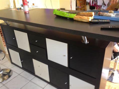 fabriquer un ilot de cuisine pas cher table de bar avec kallax bidouilles ikea
