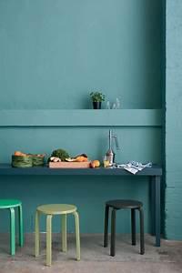 Bleu Vert Couleur : peinture cuisine laque satin couleur vert et bleu p trole ~ Melissatoandfro.com Idées de Décoration