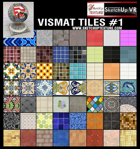 Tile Materials For Sketchup by Sketchup Texture V For Su Vismat Tiles Collection 1