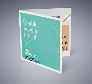 free, square, bi-fold, brochure, mockup, psd