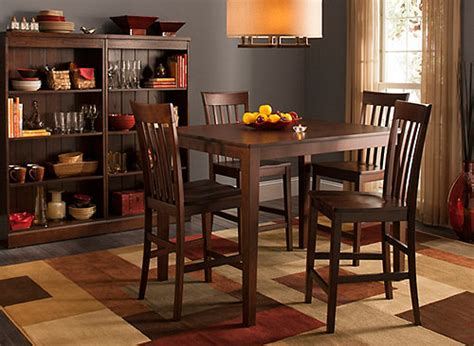 rooms to go farmhouse table 52nd street 5 pc counter height dining set cherry