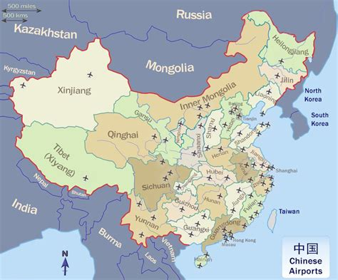 2018 Map Of China Airports, Important Airports In China