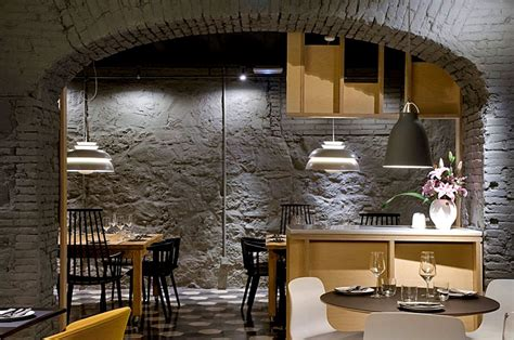 Concrete wall cladding interior decorative stone look quarry with. Chic Barcelona Restaurant by Adam Bresnick architects ...