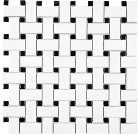glazed mosaics white w black matte basketweave ceramic