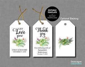 succulents editable bridal shower favor tags template With bridal shower favor tags template