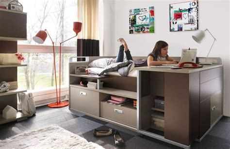 lit et bureau ado lit pour adolescent avec rangement et bureau dimix gautier