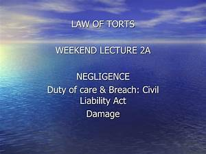PPT - LAW OF TORTS WEEKEND LECTURE 2A NEGLIGENCE Duty of ...
