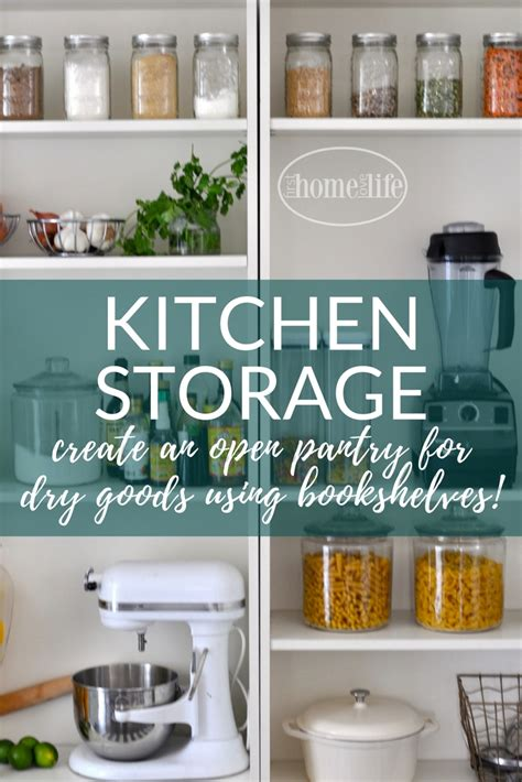 kitchen storage solution open pantry using bookshelves home 3181