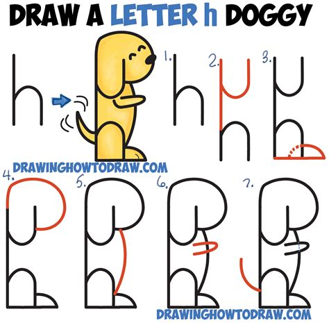 draw  cartoon dog begging   letter  shapes