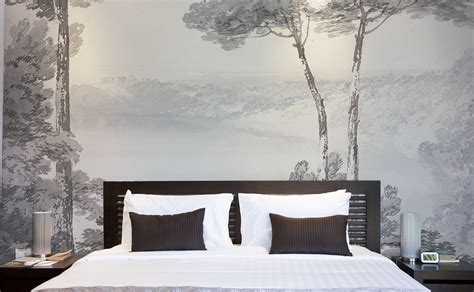 papier peint design chambre bed wallpaper papiers de